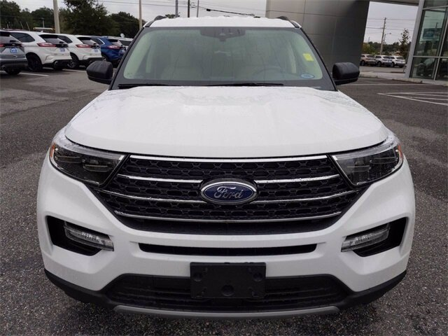2021 Oxford White Ford Explorer XLT EcoBoost 2.3L I4 GTDi DOHC Turbocharged VCT Engine 4 Door RWD Automatic SUV