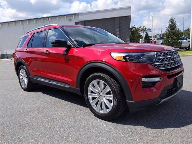 2020 Rapid Red Metallic Tinted Clearcoat Ford Explorer Limited 4 Door Automatic SUV