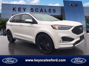 2019 White Platinum Metallic Tri-Coat Ford Edge ST 4 Door SUV AWD