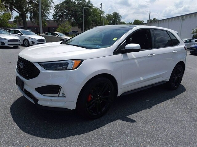 2019 White Platinum Metallic Tri-Coat Ford Edge ST SUV Automatic 4 Door 2.7L V6 Engine AWD