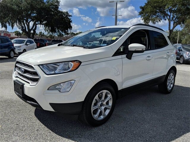 2020 Diamond White Ford EcoSport SE EcoBoost 1.0L I3 GTDi DOHC Turbocharged VCT Engine 4 Door FWD