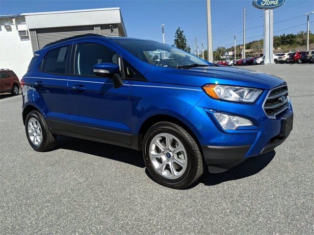 2020 Lightning Blue Metallic Ford EcoSport SE 4 Door EcoBoost 1.0L I3 GTDi DOHC Turbocharged VCT Engine Automatic FWD