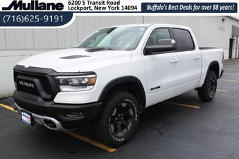 2019 Bright White Clearcoat Ram 1500 Rebel HEMI 5.7L V8 Multi Displacement VVT Engine 4 Door Truck 4X4