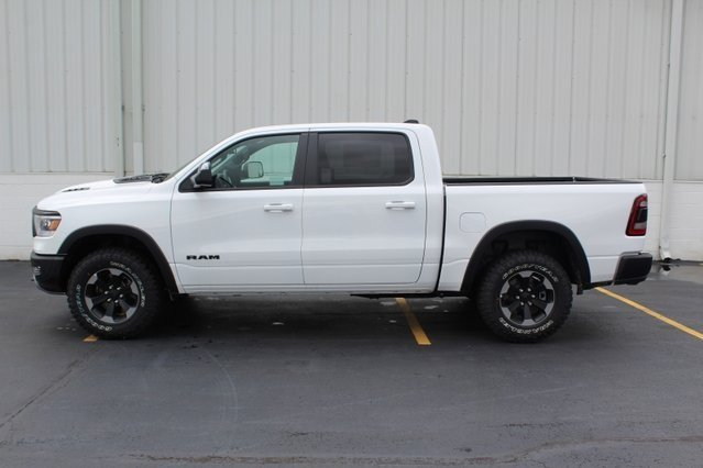 2019 Bright White Clearcoat Ram 1500 Rebel 4 Door HEMI 5.7L V8 Multi Displacement VVT Engine Truck 4X4 Automatic