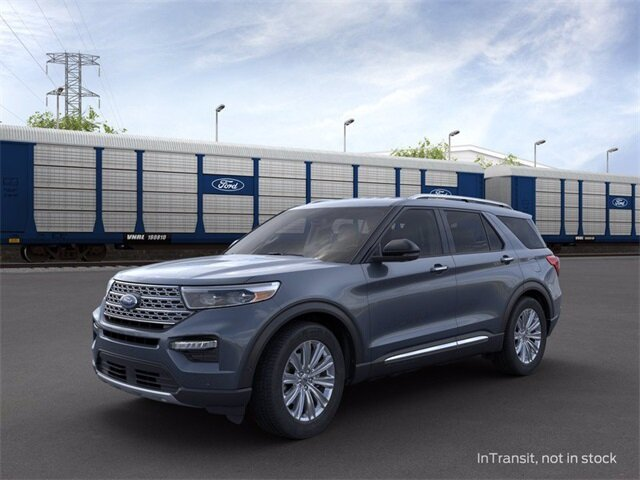 2021 Blue Ford Explorer Limited 3.0L I4 PDI Hybrid Turbocharged DOHC 16V LEV3-ULEV70 300hp Engine SUV 4 Door