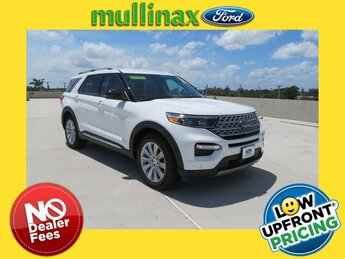 2021 Star White Metallic Tri-Coat Ford Explorer Limited 4 Door 3.3L Hybrid Engine RWD