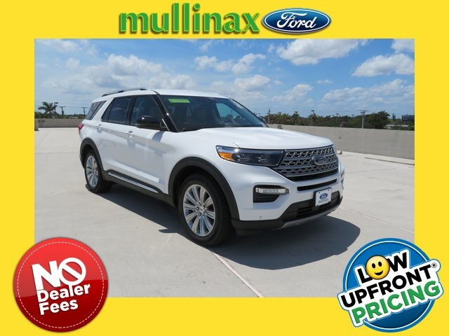 2021 Star White Metallic Tri-Coat Ford Explorer Limited Automatic 4 Door RWD 3.3L Hybrid Engine