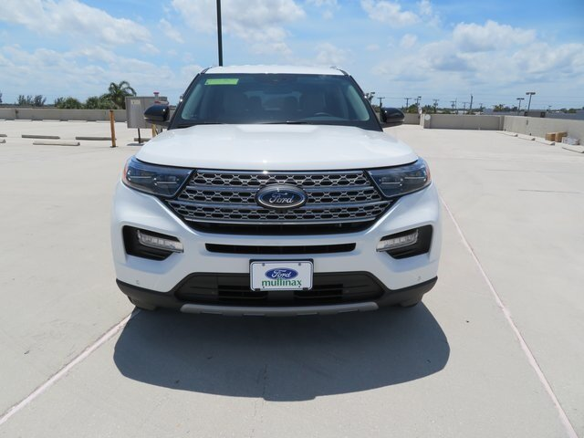 2021 Star White Metallic Tri-Coat Ford Explorer Limited 3.3L Hybrid Engine Automatic RWD 4 Door SUV