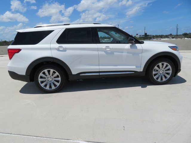 2021 Star White Metallic Tri-Coat Ford Explorer Limited 3.3L Hybrid Engine SUV 4 Door Automatic