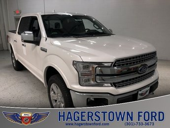 2018 White Platinum Metallic Tri-Coat Ford F-150 Lariat 4 Door Truck 4X4 EcoBoost 3.5L V6 GTDi DOHC 24V Twin Turbocharged Engine