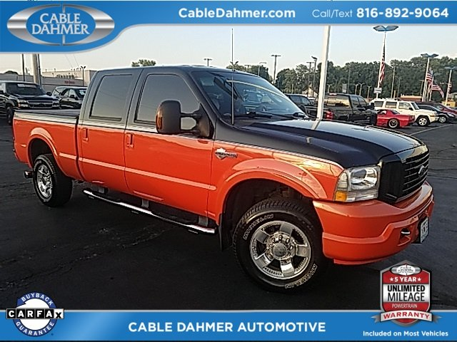 2004 Two tone Black and orange Ford Super Duty F-250 Harley-Davidson Power Stroke 6.0L V8 DI 32V OHV Turbodiesel Engine 4 Door 4X4 Truck Automatic