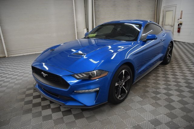2019 Velocity Blue Metallic Ford Mustang EcoBoost Coupe EcoBoost 2.3L I4 GTDi DOHC Turbocharged VCT Engine 2 Door
