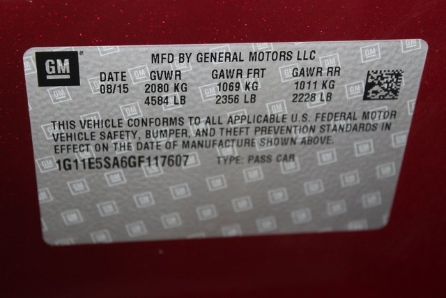 2016 Red Chevy Malibu Limited LTZ Automatic FWD 2.5L 4-Cylinder DGI DOHC VVT Engine Sedan