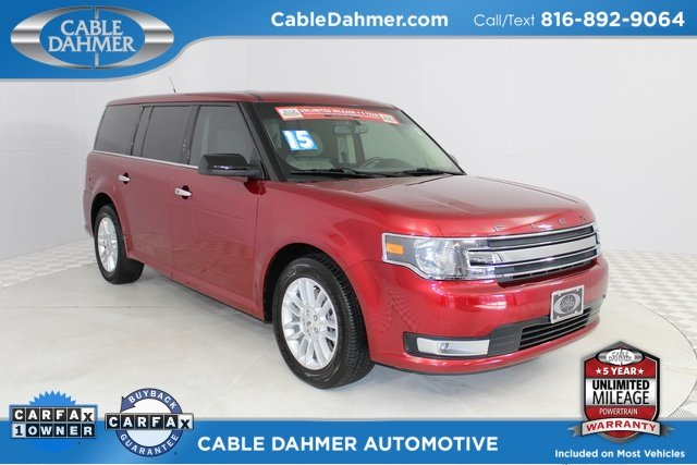 2015 Ruby Red Metallic Tinted Clearcoat Ford Flex SEL 4 Door SUV 3.5L V6 Ti-VCT Engine FWD