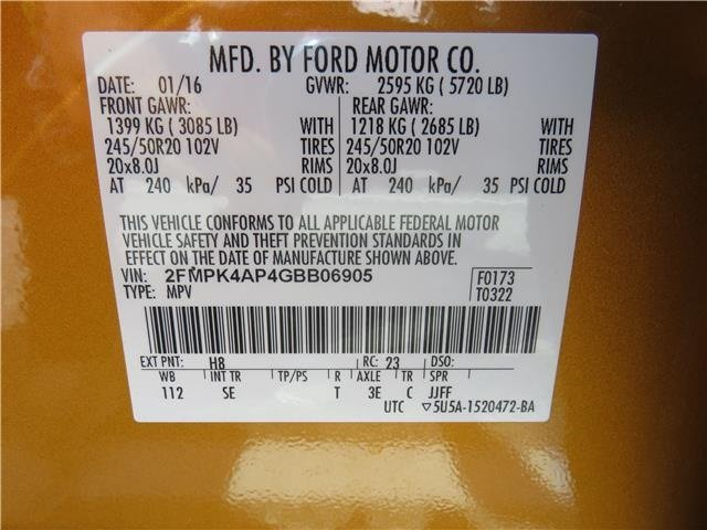 Electric Spice Metallic Ford Edge Sport Suv  Door Twin Turbo Premium Unleaded V