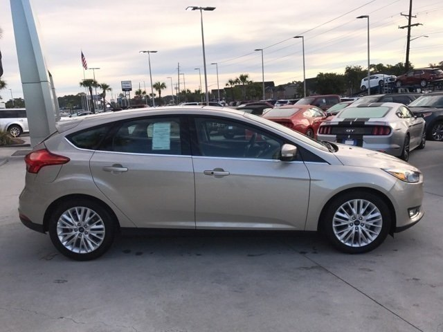 2017 White Gold Metallic Ford Focus Titanium 4 Door Hatchback I4 Engine Automatic FWD