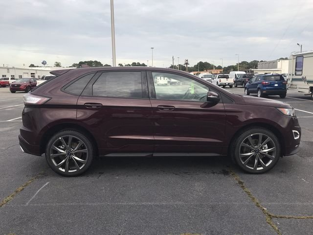 2018 Burgundy Velvet Metallic Tinted Clearcoat Ford Edge Sport EcoBoost 2.7L V6 GTDi DOHC 24V Twin Turbocharged Engine AWD 4 Door SUV