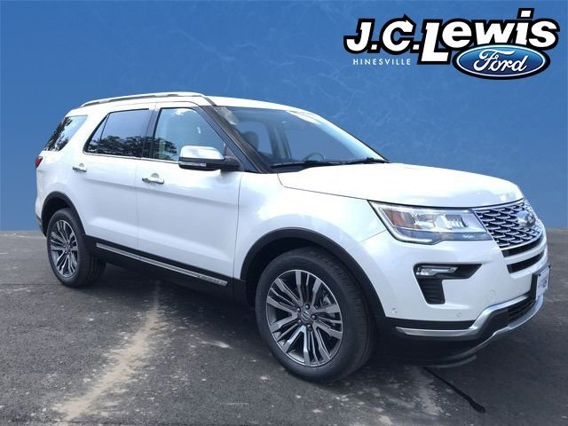 2018 White Metallic Ford Explorer Platinum 3.5L Engine Automatic 4X4 4 Door SUV