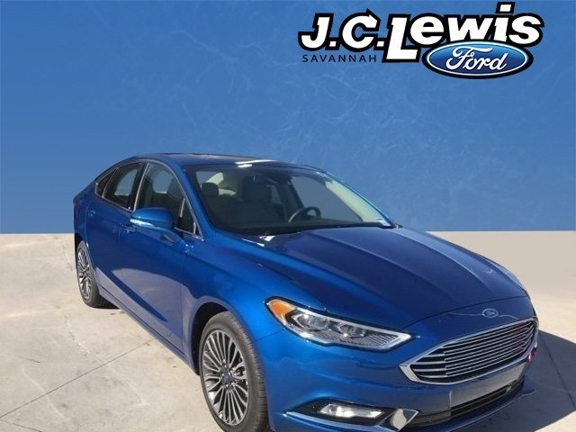 2017 Lightning Blue Ford Fusion SE EcoBoost 2.0L I4 GTDi DOHC Turbocharged VCT Engine 4 Door Automatic FWD