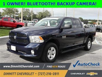 2016 True Blue Pearlcoat Ram 1500 Express 3.6L V6 24V VVT Engine 4X4 4 Door Truck
