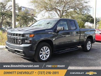 2019 Shadow Gray Metallic Chevy Silverado 1500 Custom EcoTec3 4.3L V6 Engine RWD Truck Automatic