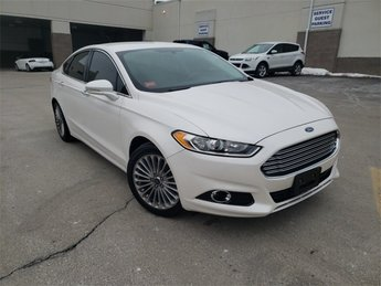 2016 White Ford Fusion Titanium FWD Sedan 4 Door Automatic EcoBoost 2.0L I4 GTDi DOHC Turbocharged VCT Engine