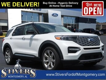 2020 White Ford Explorer Platinum 4 Door AWD V6 Engine
