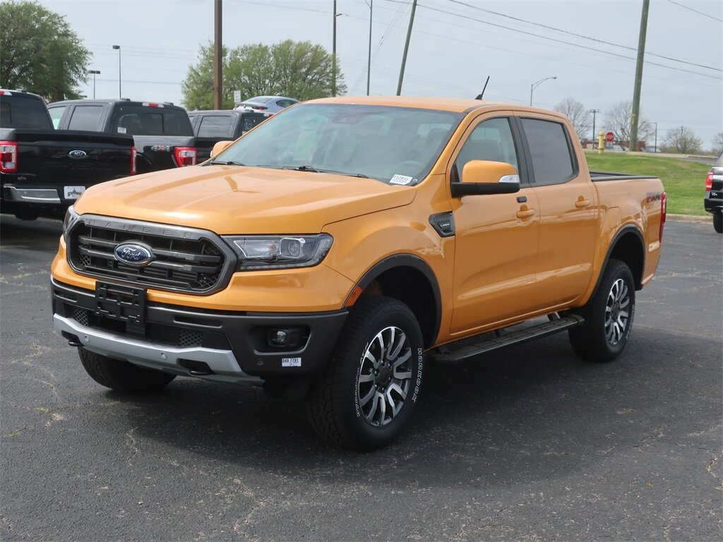 2021 Cyber Orange Metallic Tricoat Ford Ranger Lariat Automatic 4X4 4 Door EcoBoost 2.3L I4 GTDi DOHC Turbocharged VCT Engine
