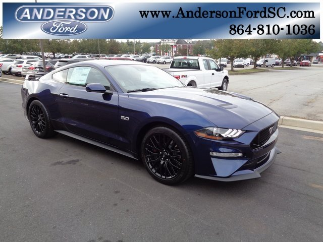 2019 Kona Blue Metallic Ford Mustang GT Premium Manual 2 Door Coupe RWD 5.0L V8 Ti-VCT Engine