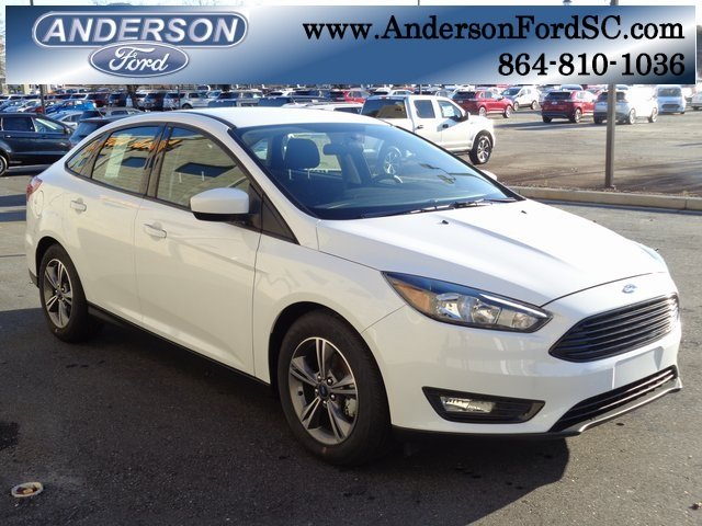 2018 Oxford White Ford Focus SE 4 Door Automatic EcoBoost 1.0L I3 GTDi DOHC Turbocharged VCT Engine