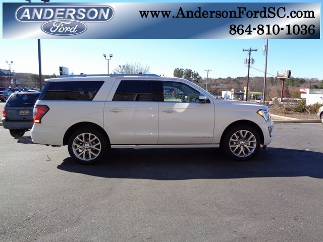 2019 White Metallic Ford Expedition Max Platinum SUV 4 Door EcoBoost 3.5L V6 GTDi DOHC 24V Twin Turbocharged Engine 4X4