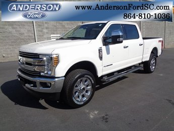 2019 White Ford Super Duty F-250 SRW Lariat Power Stroke 6.7L V8 DI 32V OHV Turbodiesel Engine 4X4 4 Door Truck