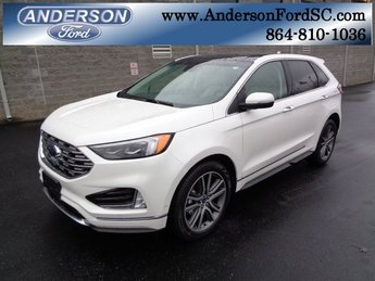 2019 White Platinum Clearcoat Metallic Ford Edge Titanium FWD SUV 2.0L Engine Automatic 4 Door