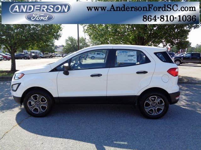 2018 Diamond White Ford EcoSport S FWD EcoBoost 1.0L I3 GTDi DOHC Turbocharged VCT Engine 4 Door Automatic SUV