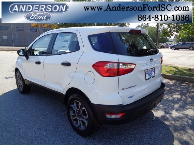2018 Diamond White Ford EcoSport S SUV FWD EcoBoost 1.0L I3 GTDi DOHC Turbocharged VCT Engine 4 Door Automatic