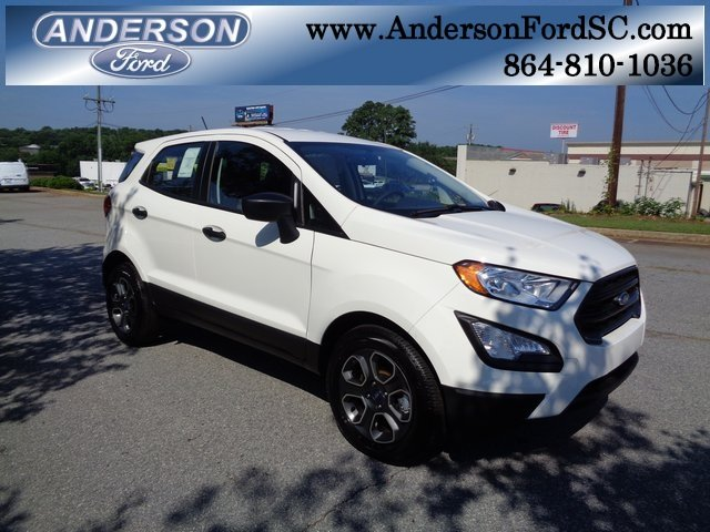 2018 Diamond White Ford EcoSport S Automatic EcoBoost 1.0L I3 GTDi DOHC Turbocharged VCT Engine FWD 4 Door SUV