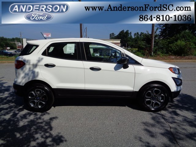 2018 Diamond White Ford EcoSport S 4 Door EcoBoost 1.0L I3 GTDi DOHC Turbocharged VCT Engine SUV Automatic FWD