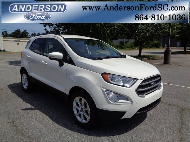 2018 Diamond White Ford EcoSport SE Automatic 4 Door SUV FWD EcoBoost 1.0L I3 GTDi DOHC Turbocharged VCT Engine