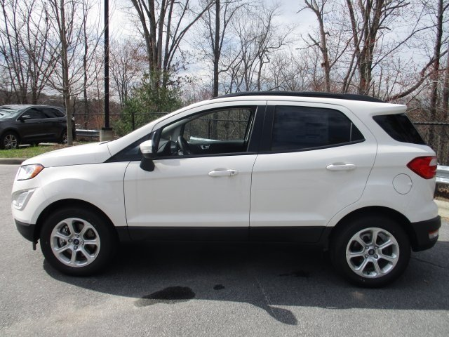 2018 Diamond White Ford EcoSport SE EcoBoost 1.0L I3 GTDi DOHC Turbocharged VCT Engine FWD SUV Automatic