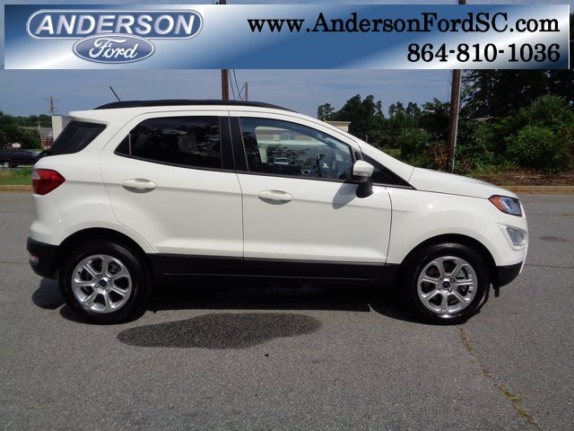 2018 Diamond White Ford EcoSport SE Automatic SUV EcoBoost 1.0L I3 GTDi DOHC Turbocharged VCT Engine 4 Door