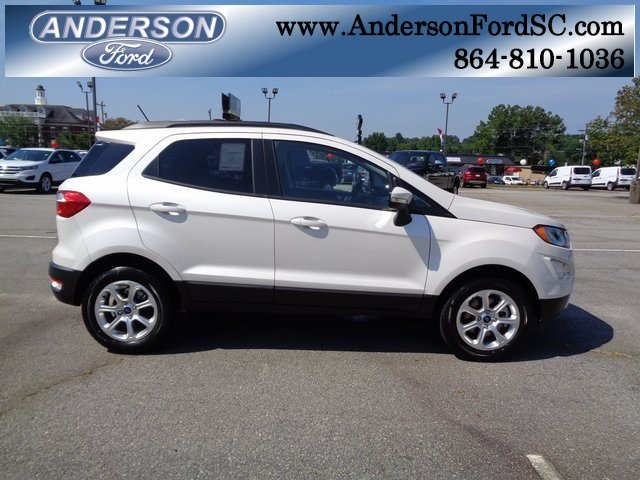 2018 White Platinum Clearcoat Metallic Ford EcoSport SE SUV EcoBoost 1.0L I3 GTDi DOHC Turbocharged VCT Engine FWD