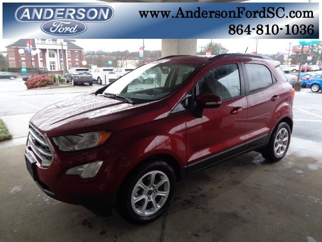 2018 Ruby Red Metallic Ford EcoSport SE FWD EcoBoost 1.0L I3 GTDi DOHC Turbocharged VCT Engine Automatic SUV 4 Door