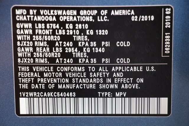 2019 Pacific_blue_met Volkswagen Atlas 3.6L V6 SE w/Technology 3.6L V6 Engine FWD SUV 4 Door Automatic