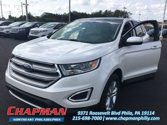 2017 White Platinum Metallic Tri-Coat Ford Edge SEL 4 Door AWD EcoBoost 2.0L I4 GTDi DOHC Turbocharged VCT Engine SUV