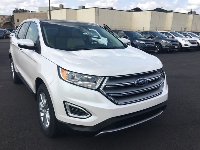 2017 White Platinum Metallic Tri-Coat Ford Edge SEL Automatic EcoBoost 2.0L I4 GTDi DOHC Turbocharged VCT Engine SUV
