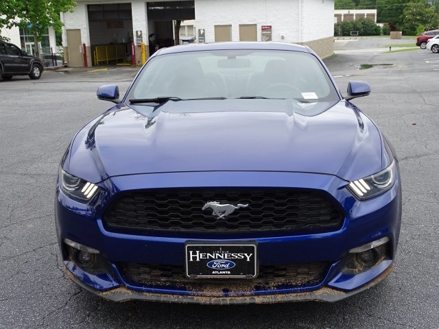 2015 Deep Impact Blue Metallic Ford Mustang EcoBoost Premium 2 Door RWD Automatic