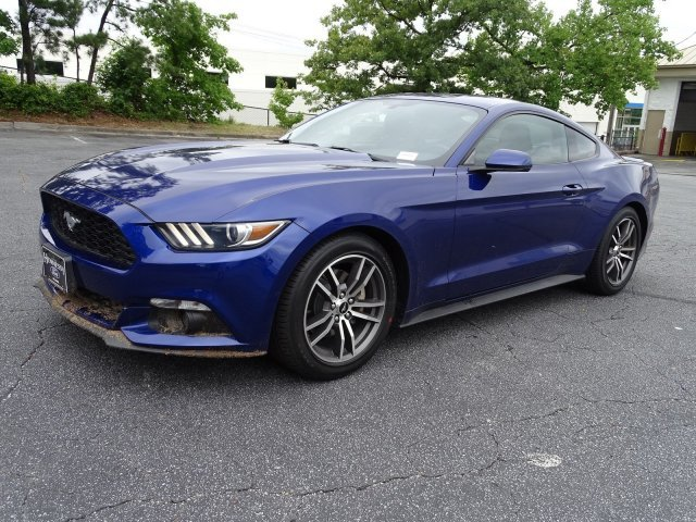 2015 Deep Impact Blue Metallic Ford Mustang EcoBoost Premium Coupe RWD Intercooled Turbo Premium Unleaded I-4 2.3 L/140 Engine Automatic