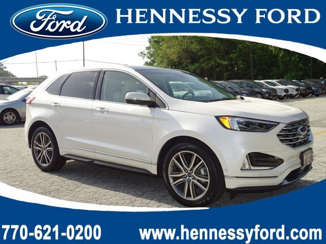 2019 White Platinum Metallic Tri-Coat Ford Edge Titanium Automatic Intercooled Turbo Premium Unleaded I-4 2.0 L/122 Engine 4 Door SUV FWD