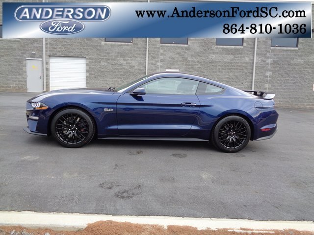 2019 Kona Blue Metallic Ford Mustang GT Premium 2 Door RWD Coupe 5.0L V8 Ti-VCT Engine Manual