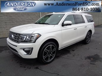 2019 White Metallic Ford Expedition Max Limited EcoBoost 3.5L V6 GTDi DOHC 24V Twin Turbocharged Engine RWD Automatic 4 Door